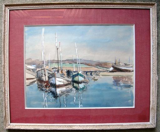 René LEFORESTIER - Dessin-Aquarelle - port en bretagne