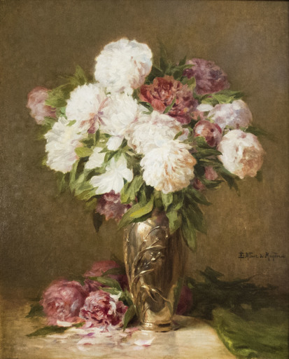 Emile Albert DE MANDRE - Painting - Vase with flowers