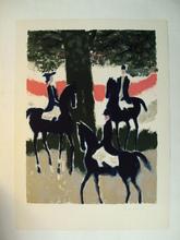 André BRASILIER - Print-Multiple - Trois cavaliers au soleil couchant,1968.