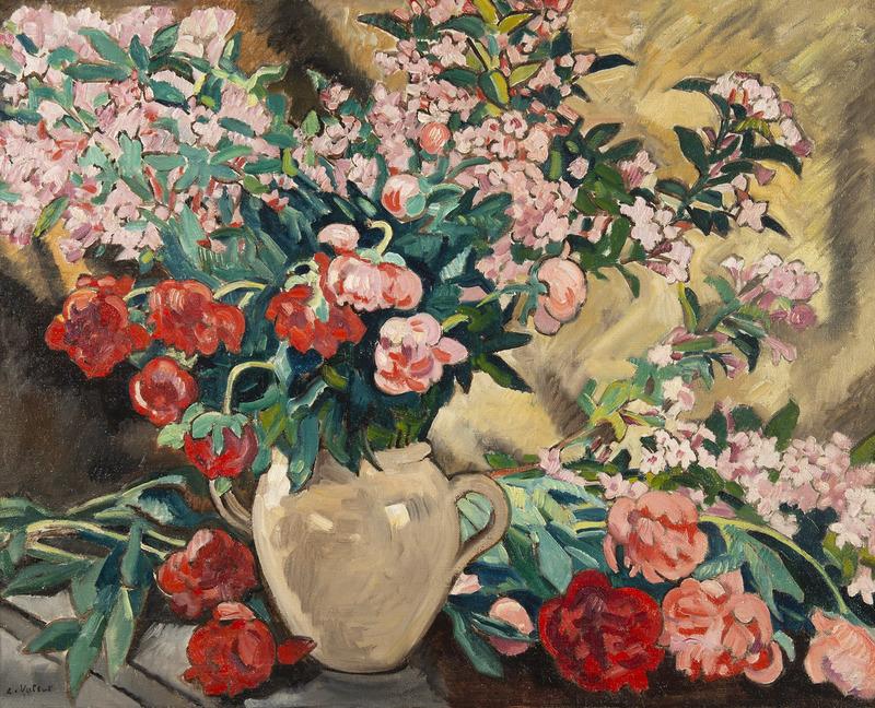 Louis VALTAT - Peinture - Pivoines dans un vase jaune