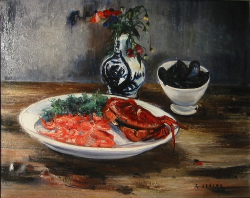 Gaston SEBIRE - Painting - Still life with crevettes