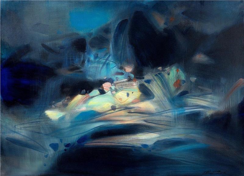 CHU Teh-Chun - Peinture - Abstraction bleue et jaune