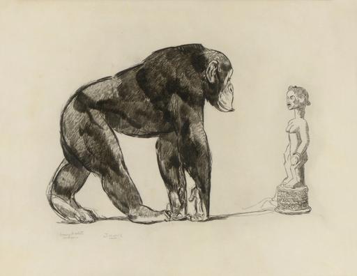 Paul JOUVE - Grabado - Chimpanzé devant une statue Baoulé