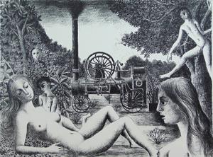 Paul DELVAUX - Print-Multiple - Locomobile