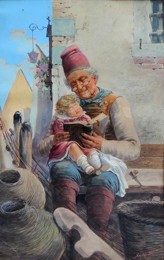 Napoleone GIROTTO - Drawing-Watercolor - Amore di nonno