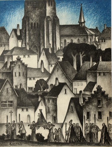 "Raymond DIERICKX - Drawing-Watercolor - ""PROCESSION AU CIEL BLEU"""