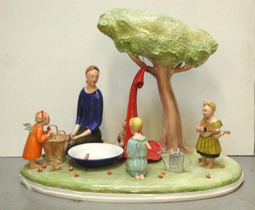 Jan KNAP - Keramiken - Famiglia in campagna