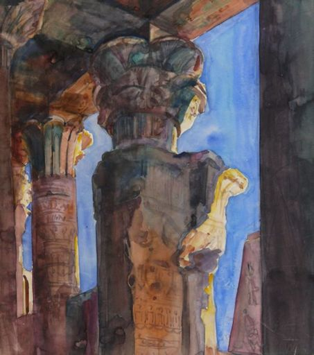 Paul WEISER - Drawing-Watercolor - Tempel von Edfu Ägypten