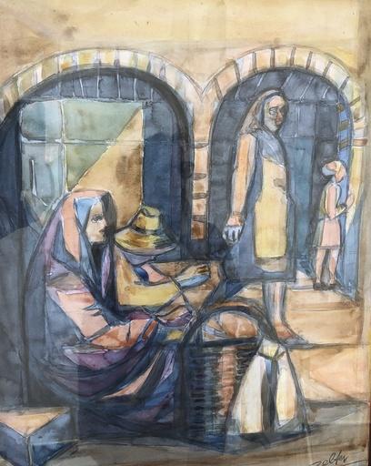 George Joseph ZELTER - Disegno Acquarello - Nazaré