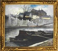 """Edouard Léon Louis LEGRAND - Painting - """"Péniches sur la Seine"""" Circa 1930"""
