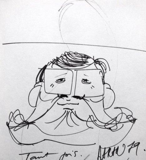 Gérard DARAN - Dibujo Acuarela - Portrait de Rony Coutteure