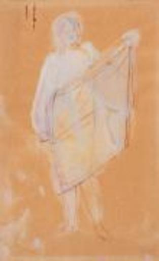 Auguste RODIN - Disegno Acquarello - Femme passant un vêtement