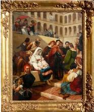 Horace VERNET - Painting - Pope Julius II , Archit. Bramante, Michelangelo an Raphael i