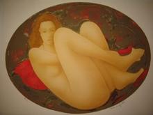 Alain BONNEFOIT - Grabado - Blonde au coussin rouge,1987.