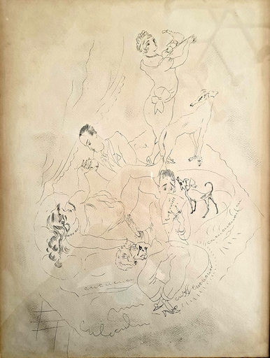 Jules PASCIN - Dibujo Acuarela - The debauchery