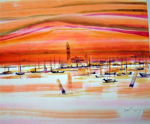 Albert SOCIAS - Dessin-Aquarelle - Crépuscule à Venise