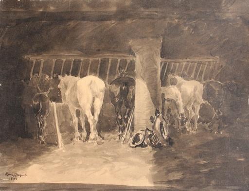 René Maxime CHOQUET - Disegno Acquarello - Le chevaux