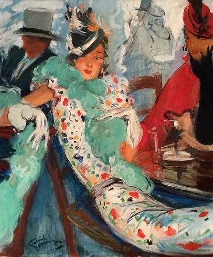 Jean Gabriel DOMERGUE - Painting - Au bar des Ambassadeurs à Deauville