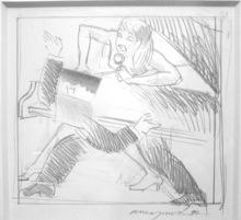 Allen JONES - Dibujo Acuarela - Study for Night Fever