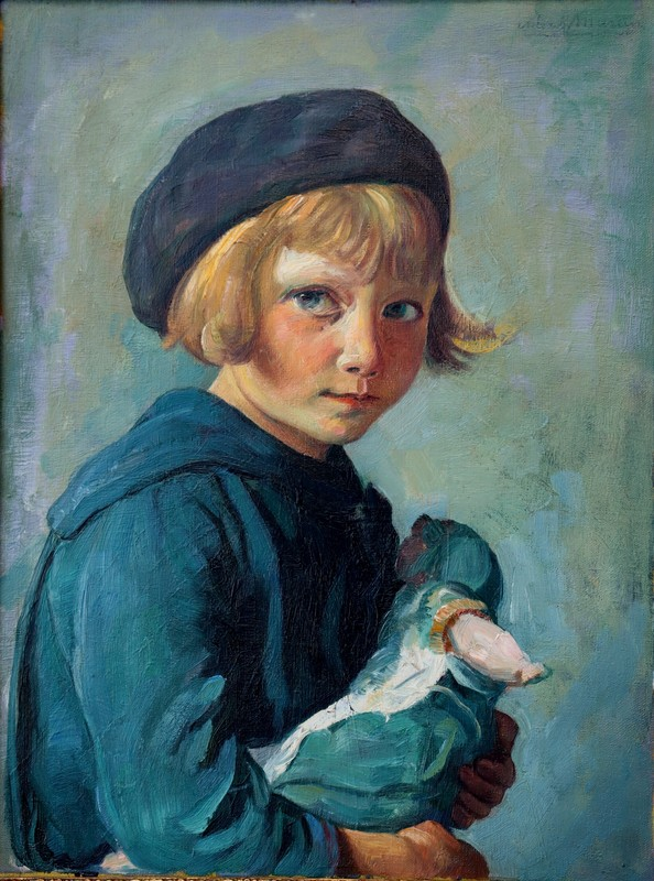 """Alexandre-Louis MARTIN - Painting - """"FILLETTE A LA POUPEE"""""""
