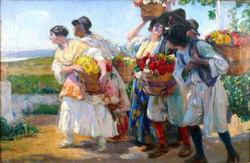 José MONGRELL Y TORRENT - Gemälde - 'Floristas valencianos'