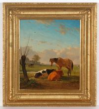 "Jozef Jodocus MOERENHOUT - Pintura - ""Cattle in a meadow"" oil painting"