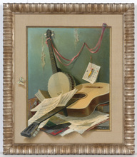 "August ALBO - Pintura - ""Still-life with guitar and banjo / Trompe-l'oel"", 1950s"