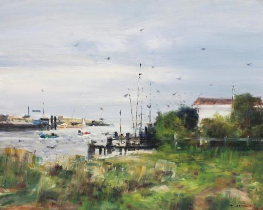 Gaston SEBIRE - Painting - Entrée du port D'ouistreham