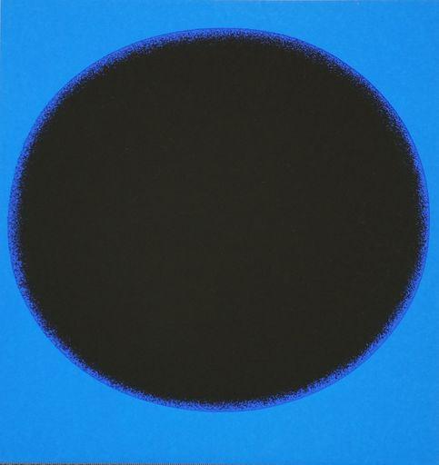 Rupprecht GEIGER - Grabado - Schwarzer Kreis auf Blau