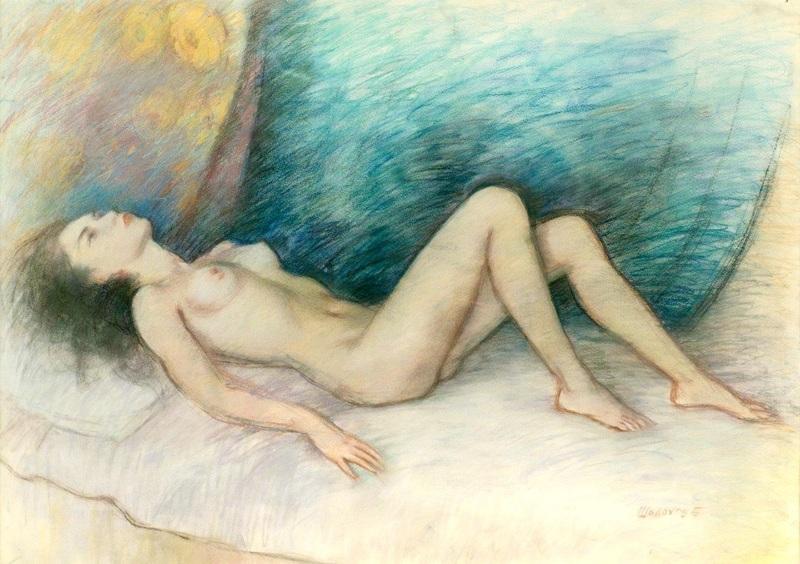 Boris Anatolievich SHOLOKOV - Dibujo Acuarela - Dreaming nude