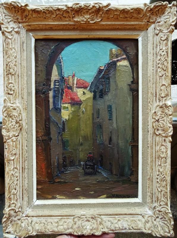 Basile Nicolaevitch NETCHITAILOFF - Painting - Ruelle animée en  Provence