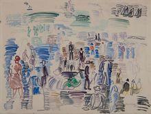 Raoul DUFY - Dessin-Aquarelle - Personnages sur la plage