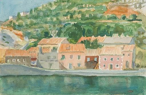 Axel VON LESKOSCHEK - Dessin-Aquarelle - Dorf am Wasser