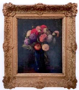 Henri-Théodore FANTIN-LATOUR - Painting - Bouquet de dahlias