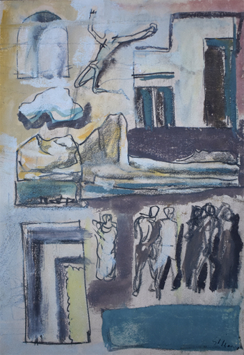 Mario SIRONI - Drawing-Watercolor - Composition with Figures