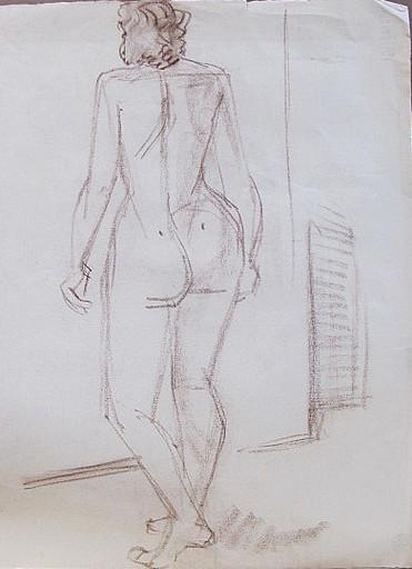 Erich HARTMANN - Disegno Acquarello - Weiblicher Akt in Rückansicht.