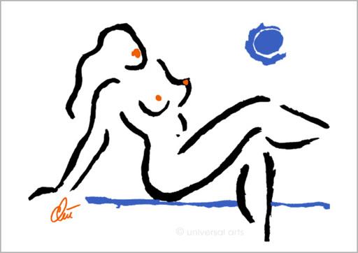 """Jacqueline DITT - Print-Multiple - """"Hot Girl - Blue Moon"""" (Heisse Mädchen - Blauer Mond) Akt"""