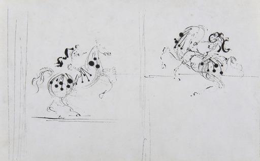 Salvador DALI - Drawing-Watercolor - Deux cavaliers