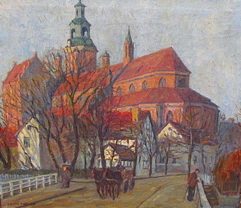 Fritz PREISS - 绘画 - Die St. Marienkirche in Stargard.