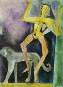 Jacob GILDOR - Drawing-Watercolor - Boy with Panther