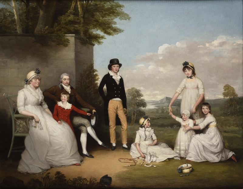 Archer James OLIVER - Painting - Portrait de la famille Peacock dans un paysage