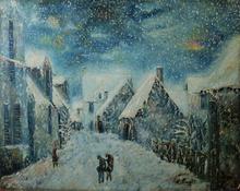 Emile BOYER - Pintura - Le Vieux Cabourg un jour de neige