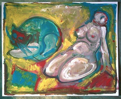 Bernard MOREL - Gemälde - LE CHAT ET MODELE