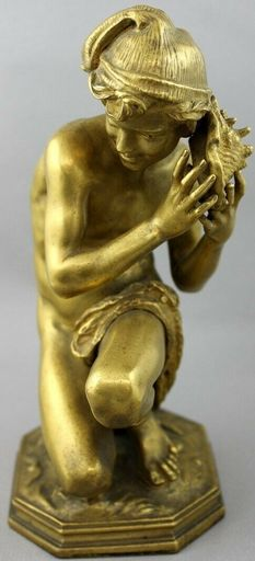 "Jean-Baptiste CARPEAUX - Sculpture-Volume - ""Neapolitan  Fisherboy"""