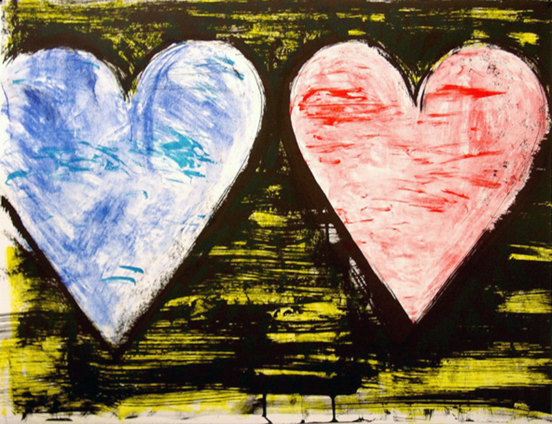 Jim DINE - Print-Multiple - Two Hearts at Sunset