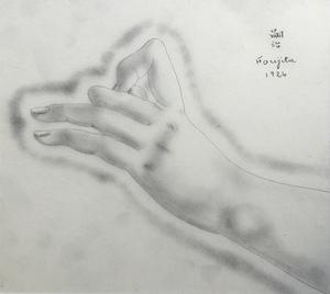 Tsuguharu FOUJITA - Zeichnung Aquarell - La main