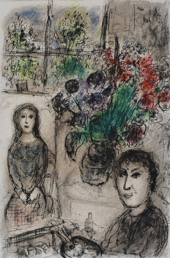 Marc CHAGALL - Estampe-Multiple - Easel with Flowers | Le Chevalet aux Fleurs