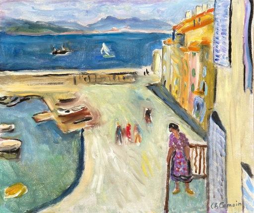 Charles CAMOIN - Peinture - Le bout du port de Saint-Tropez. Personnage sur le balcon
