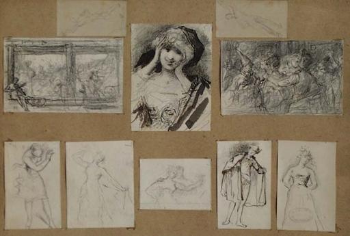 """Eugène SMITS - Zeichnung Aquarell - """"Ten Studies"""" by Eugeen Smits, 19th Century"""