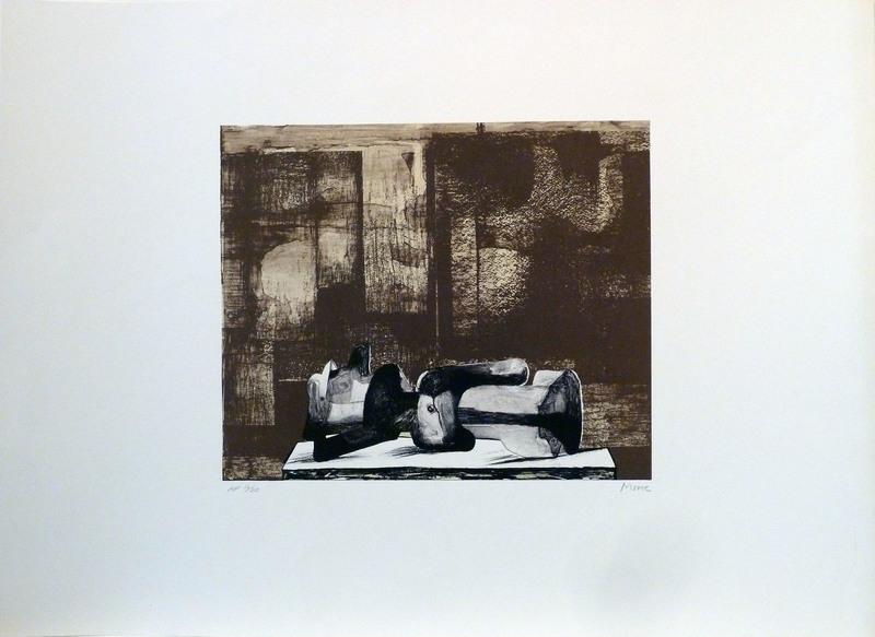 Henry MOORE - Druckgrafik-Multiple - Reclining figure architectural background IV